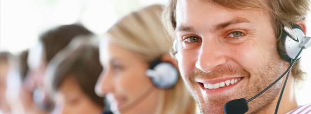 Customer Care Representative smiling.